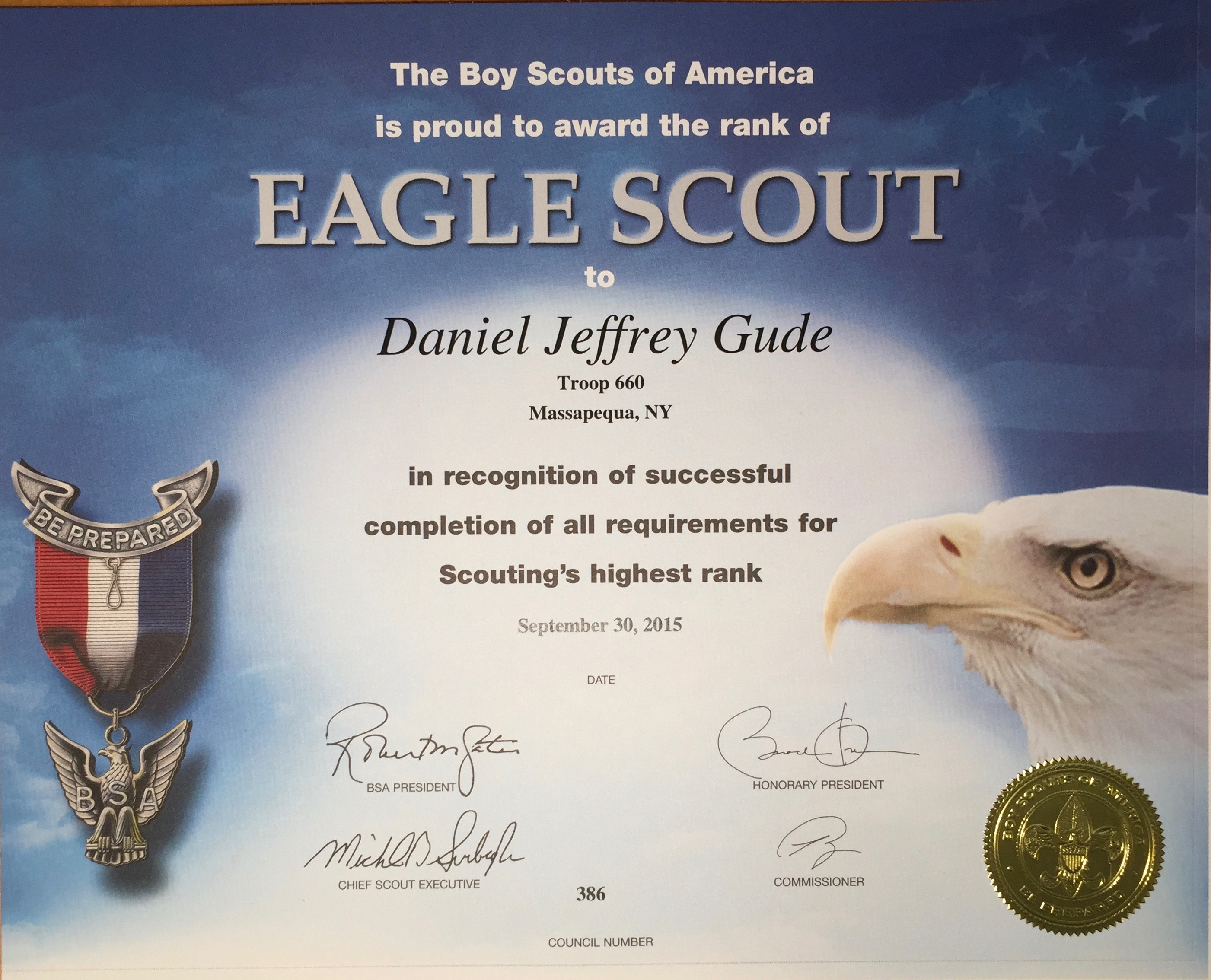 Eagle Scout Award Certificate